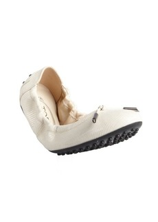 Tod's ivory textured suede tasseled ballet flats