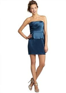 A.B.S. by Allen Schwartz dark teal pleated satin strapless peplum dress