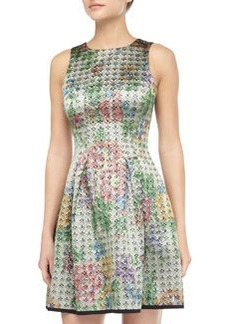 Cynthia Rowley Floral Brocade Fit-and-Flare Dress, Gold