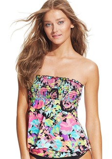 Kenneth Cole Reaction Floral-Print Smocked Bandeau Tankini Top