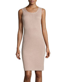 St. John Scallop-Trim Knit Tank Dress, Bisque