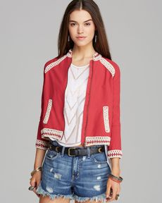 Free People Jacket - Crochet Inset Baseball