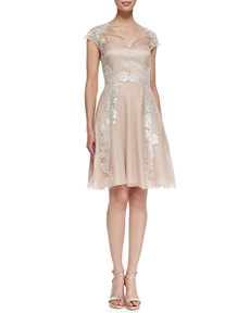 Kay Unger New York Lace Appliqué Shirt-Style Cocktail Dress, Blush
