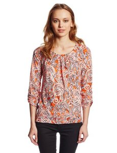 Jones New York Women's Three Quarter Sleeve Tab Raglan Top