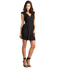A.B.S. by Allen Schwartz black v-neck padded shoulder stretch jersey dress
