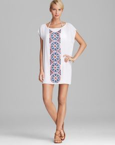 Milly Aztec Cape Creton Embroidered Cover Up Tunic
