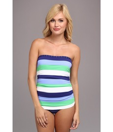 Tommy Bahama Skipper Stripe Shirred Bandeau One-Piece