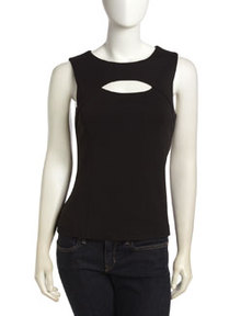 Laundry by Shelli Segal Cutout Front Sleeveless Top, Black