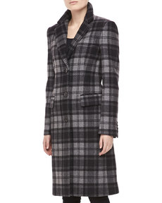 Michael Kors Fairfax Plaid Wool Coat, Black/Banker
