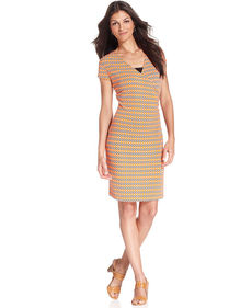 Jones New York Signature Cap-Sleeve Printed Faux-Wrap Dress