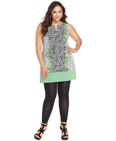 Alfani Plus Size Printed Sleeveless Tunic