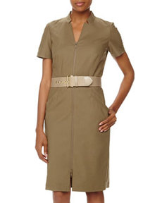 Lafayette 148 New York Hathaway Short-Sleeve Belted Zip Stretch-Knit Dress, Fatigue