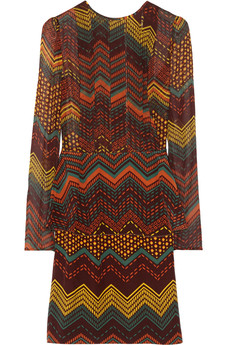 M Missoni Printed silk-chiffon peplum dress