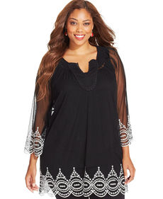 Alfani Plus Size Embroidered Three-Quarter-Sleeve Blouse
