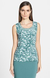St. John Collection Layered Trim Print Scoop Neck Silk Shell