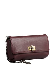 Lanvin plum leather 'Happy' chain shoulder bag