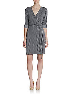 Calvin Klein Grid-Print Wrap Dress