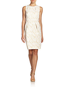Carmen Marc Valvo Metallic Jacquard Sheath Dress