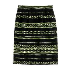 Collection glow-stripe jacquard pencil skirt