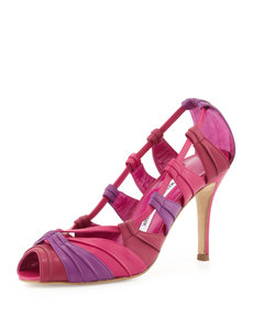 Manolo Blahnik Natuk Peep-Toe Pump, Purple/Cranberry/Fuchsia