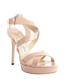 Jimmy Choo blush patent leather crisscross strappy 'Vamp' platform sandals