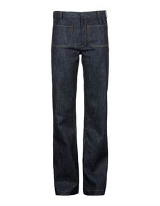 DEREK LAM Denim Solid color Dark wash Mid Rise Hook-and-bar, zip Four pockets Stitching Denim Woven not made of fur