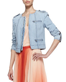 Cam Round-Neck Denim Jacket   Cam Round-Neck Denim Jacket