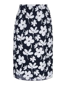 "MARNI Runway skirt in techno-gauze. ""Ink Flowers"" print. Pencil-skirt with internal elastic gathering the waist. At the back, a vertical seam, darts and closure by means of a concealed zipper. knee-length skirt. Border sewn onto the bottom, no pockets"