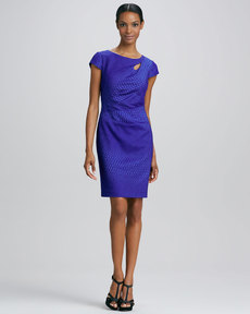 Kay Unger New York Cap-Sleeve Jacquard Dress