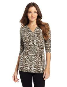 Calvin Klein Women's 3/4 Sleeve Print Wrap Top