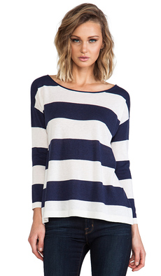 Joie Briella Classic Stripe Pullover in Navy