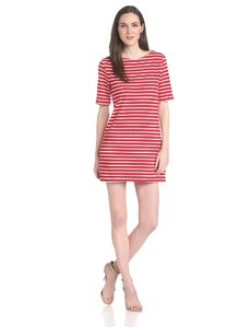 Three Dots Women's Short-Sleeve Stripe Dress