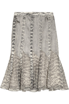 Jason Wu Snake-print silk-satin and chiffon skirt