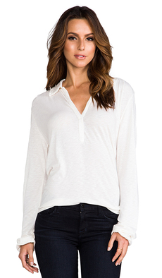 Michael Stars Long Sleeve Henley in Ivory