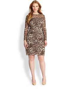 Kay Unger, Sizes 14-24 Animal-Print Dress