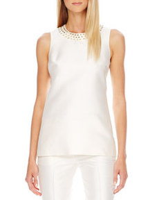 Stud-Neck Shantung Top   Stud-Neck Shantung Top