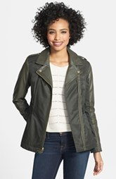 Laundry by Design Water Resistant Faux Leather & Twill Jacket