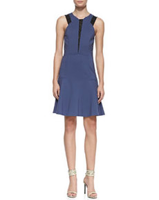 Lace-Inset Ponte Flounce Dress   Lace-Inset Ponte Flounce Dress