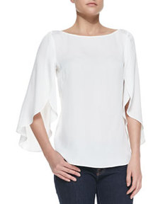 Butterfly Sleeve Boat-Neck Top   Butterfly Sleeve Boat-Neck Top
