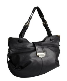Kooba black leather expandable flap close 'Natasha' large hobo bag