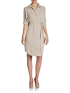 Calvin Klein Rolled-Sleeve Shirtdress