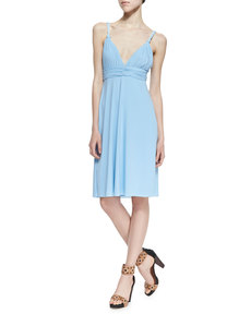 T Bags Ballet Cutout-Back Braided Dress, Light Blue