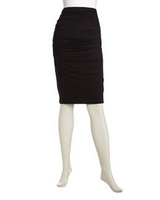 Three Dots Ruched Jersey Pencil Skirt
