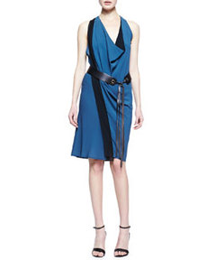 Leather-Belted Crepe Scarf Dress   Leather-Belted Crepe Scarf Dress