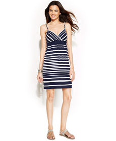 INC International Concepts Petite Spaghetti-Strap Striped Dress
