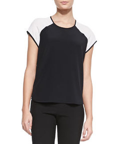 Liva Colorblock Silk Top   Liva Colorblock Silk Top