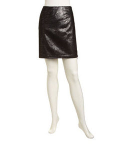 Laundry by Shelli Segal Side-Zip Metallic Skirt, Silver