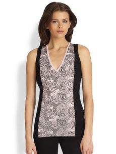 Saks Fifth Avenue Collection Silk-Cashmere Lace-Print Tank