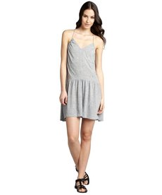 Rebecca Taylor heather grey linen blend drop waist racerback dress