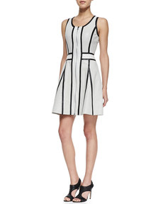 Andrew Marc x Richard Chai Perforated Leather Two-Tone Dress
